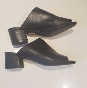 Jeffrey Campbell black heeled mules